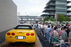 The 2003 Indy 500 Corvette on display