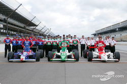 The front row: pole winner Helio Castroneves with Tony Kanaan and Robby Gordon with their teams