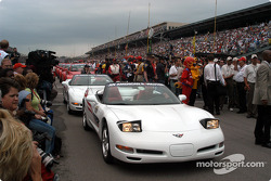 An armada of pace cars awaiting the celebrity parade