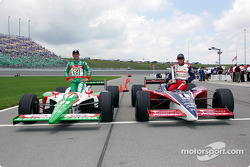 Front row for the Argent Mortgage Indy 300: pole winner Buddy Rice with Tony Kanaan