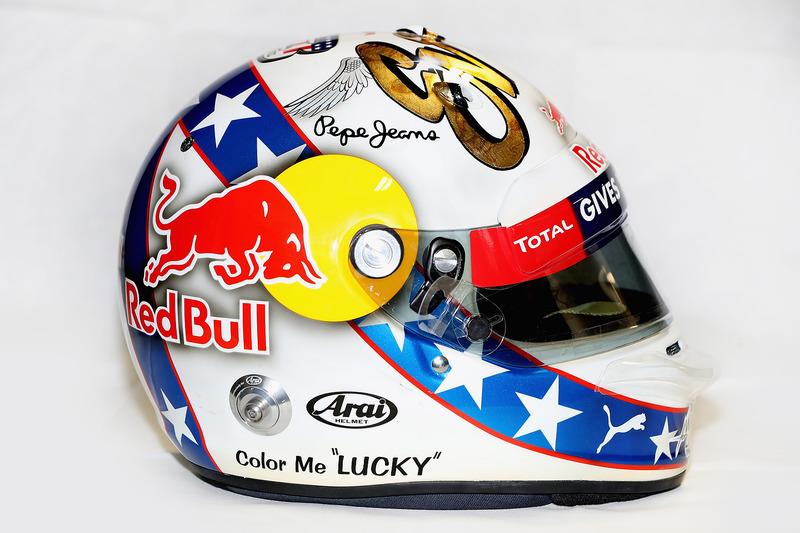 El casco edición especial inspirado en Evel Knievel que utilizará Daniel Ricciardo, Red Bull Racing