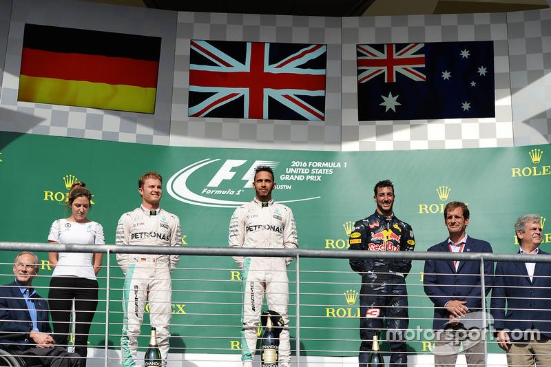 Pódios: 17 - Lewis Hamilton; 16 - Nico Rosberg; 8 - Daniel Ricciardo; 7 - Max Verstappen, Sebastian Vettel; 4 - Kimi Raikkonen; 2 - Sergio Perez; 1 - Daniil Kvyat, Valtteri Bottas