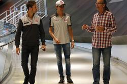 Former NASCAR driver Kyle Petty gives Romain Grosjean, Haas F1 Team, Esteban Gutierrez, Haas F1 a tour of the NASCAR Hall of Fame