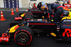Max Verstappen, Red Bull Racing RB12 and Daniel Ricciardo, Red Bull Racing RB12 climb out of their cars in parc ferme