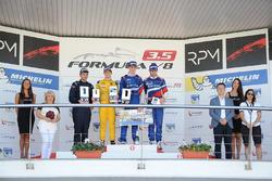 Podium: Race winner Egor Orudzhev, Arden Motorsport; second place Louis Deletraz, Fortec Motorsports; third place Matthieu Vaxiviere, SMP Racing