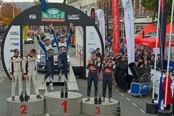 Podium: Winner Sébastien Ogier, Julien Ingrassia, Volkswagen Polo WRC, Volkswagen Motorsport; second place Ott Tanak, Raigo Molder, DMACK World Rally Team; third place Thierry Neuville, Nicolas Gilsoul, Hyundai i20 WRC, Hyundai Motorsport
