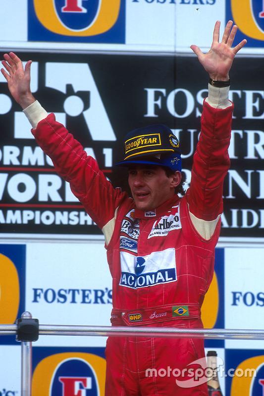 Podium: Senna sichert sich mit dem Sieg den Vizetitel vor Damon Hill und ...