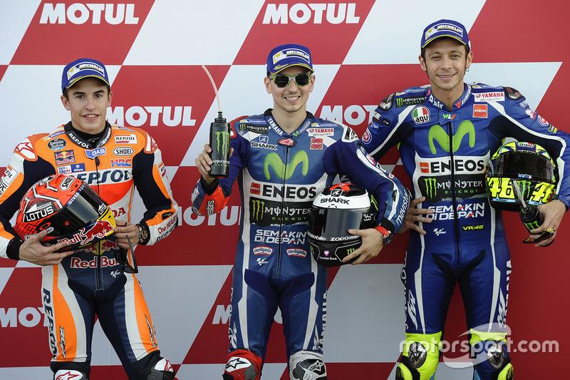 Polesitter Jorge Lorenzo, 2. Marc Marquez, 3. Valentino Rossi