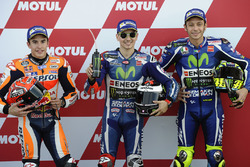 Polesitter Jorge Lorenzo, Yamaha Factory Racing, second place Marc Marquez, Repsol Honda Team, third place Valentino Rossi, Yamaha Factory Racing