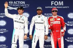 Parc Fermé: 2. Nico Rosberg, Mercedes AMG F1; 1. Lewis Hamilton, Mercedes AMG F1; 3. Kimi Räikkönen, Ferrari