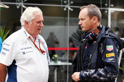 (L to R): Pat Symonds, Williams Chief Technical Officer with Paul Monaghan, Red Bull Racing Chief Engineer