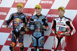 Top 3 nach dem Qualifying; Aron Canet, Estrella Galicia 0,0, Honda; Brad Binder, Red Bull KTM Ajo, KTM; Hiroki Ono, Honda Team Asia, Honda