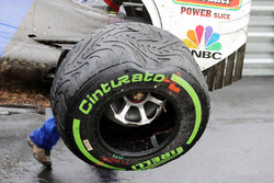 The damaged Sauber C35 of Marcus Ericsson, Sauber F1 Team who crashed out of the race