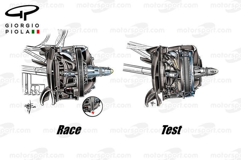 Mercedes W07 voorrem vergelijking