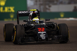 Jenson Button, McLaren MP4-31 heading to retirement with a broken front suspension