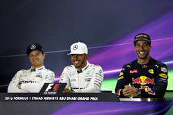 Press conference: polesitter Lewis Hamilton, Mercedes AMG F1, second position Nico Rosberg, Mercedes AMG F1, third position Daniel Ricciardo, Red Bull Racing