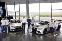 Simon Caddy, James Kaye, Cadspeed Racing; Chris Reinke, Audi Sport customer racing; Stephan Winkelmann, Audi Sport GmbH; Dalius Steponavicius, Sven Harder, Kristina Steponavice, Speed Factory Racing