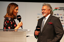 (L to R): Natalie Pinkham, Sky Sports Presenter with Dr. Vijay Mallya, Sahara Force India F1 Team Owner