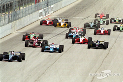 The start: Dario Franchitti leading the field