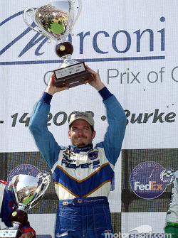 The podium: race winner Patrick Carpentier