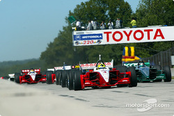 The start: Bruno Junqueira and Paul Tracy leading the field