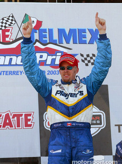 The podium: race winner Paul Tracy