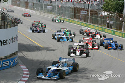 The start: Paul Tracy leads ahead of Bruno Junqueira