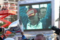 2003 Champ Car champion Paul Tracy celebrates