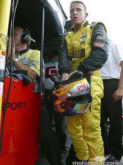 A.J. Allmendinger gets ready to celebrate pole position