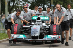 The Car of Nico Rosberg, Mercedes GP beeing pushed to the grid