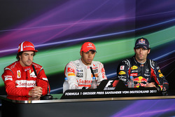 Race winner Lewis Hamilton, McLaren Mercedes, second place Fernando Alonso, Scuderia Ferrari, third place Mark Webber, Red Bull Racing