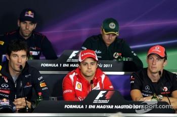 Jaime Alguersuari, Scuderia Toro Rosso, Heikki Kovalainen, Team Lotus, Mark Webber, Red Bull Racing, Felipe Massa, Scuderia Ferrari and Jenson Button, McLaren Mercedes
