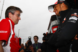 Pat Fry Ferrari technical director with Lewis Hamilton, McLaren Mercedes