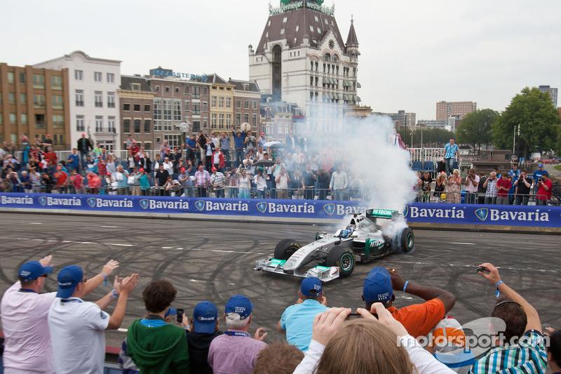 Sam Bird demonstrates the Mercedes GP