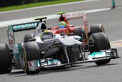 Nico Rosberg, Mercedes GP F1 Team leads Felipe Massa, Scuderia Ferrari