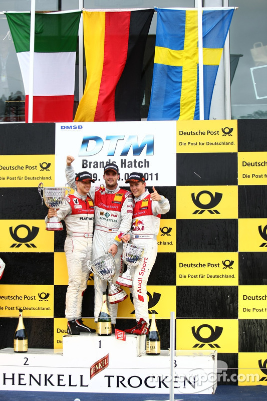 Martin Tomczyk, Audi Sport Team Phoenix; Mattias Ekström, Audi Sport Team Abt; Edoardo Mortara, Audi Sport Team Rosberg
