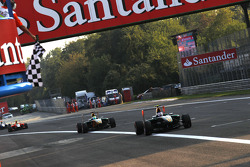 Valtteri Bottas takes victory and the chequered flag in front of James Calado