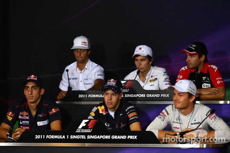 Daniel Ricciardo, HRT with Sergio Perez, Sauber F1 Team, Timo Glock, Marussia Virgin Racing, Sebastien Buemi, Scuderia Toro Rosso, Sebastian Vettel, Red Bull Racing and Nico Rosberg, Mercedes GP F1 Team