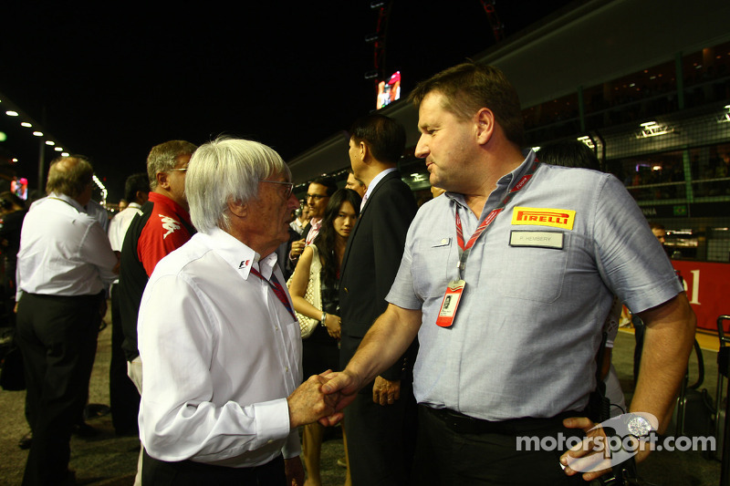 Bernie Ecclestone with Paul Hembury of Pirelli