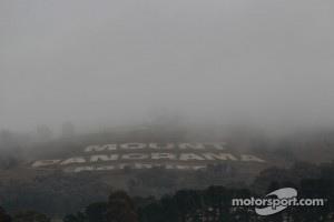 Fog covers Mount Panorama