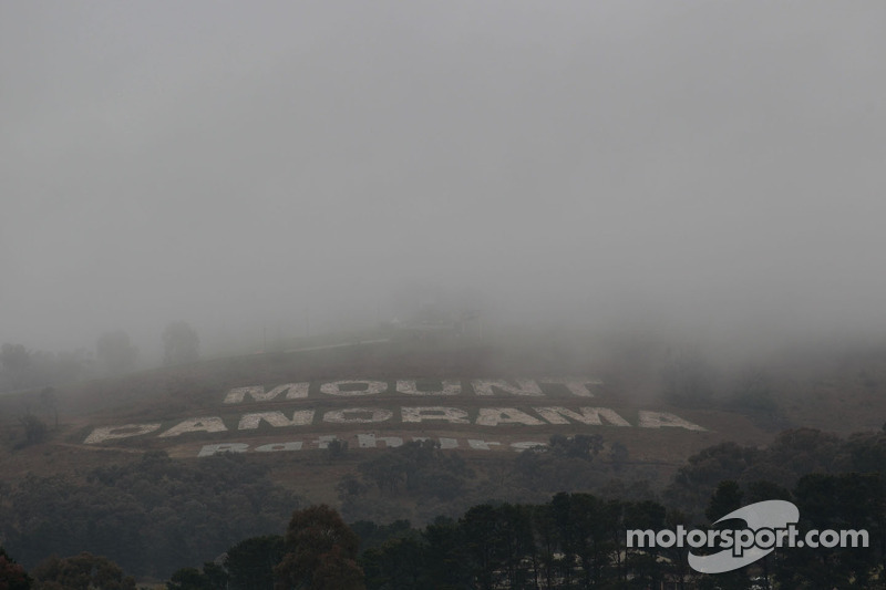 Fog covers Mount Panorama