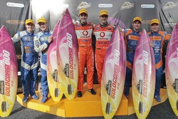 Podium: race winners Sébastien Bourdais and Jamie Whincup, second place Will Davison and Mika Salo, third place Mark Winterbottom and Richard Lyons