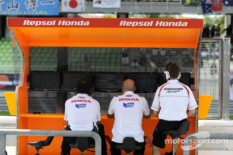 The Respol Honda team looks on