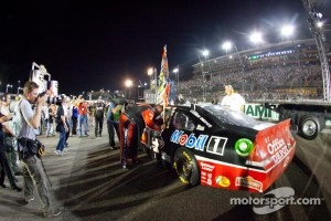 NASCAR Sprint Cup Series 2011 champion Tony Stewart, Stewart-Haas Racing Chevrolet celebrates