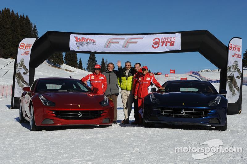 Fernando Alonso, Luca di Montezemolo and Felipe Massa present the new Ferrari FF