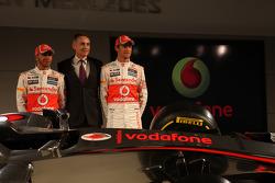 Lewis Hamilton, McLaren Mercedes, Martin Whitmarsh, McLaren, Chief Executive Officer  and Jenson Button, McLaren Mercedes