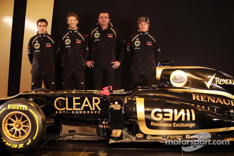 Jérôme d'Ambrosio, Romain Grosjean, Eric Boullier, Kimi Raikkonen