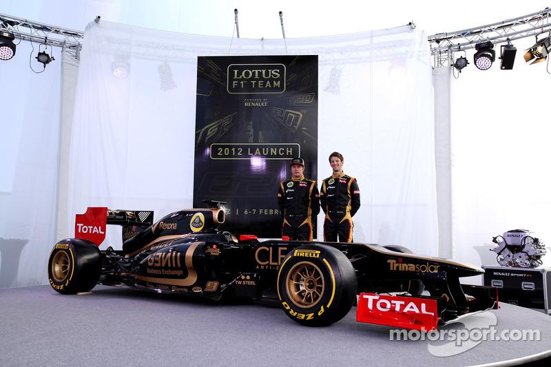 Kimi Raikkonen, Lotus Renault F1 Team en Romain Grosjean, Lotus Renault F1 Team