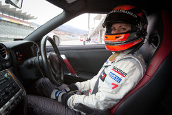 Cyndie Allemann tests the Hitotsuyama Racing Audi R8 LMS Super GT car, does a track warmup with a Nissan GT-R