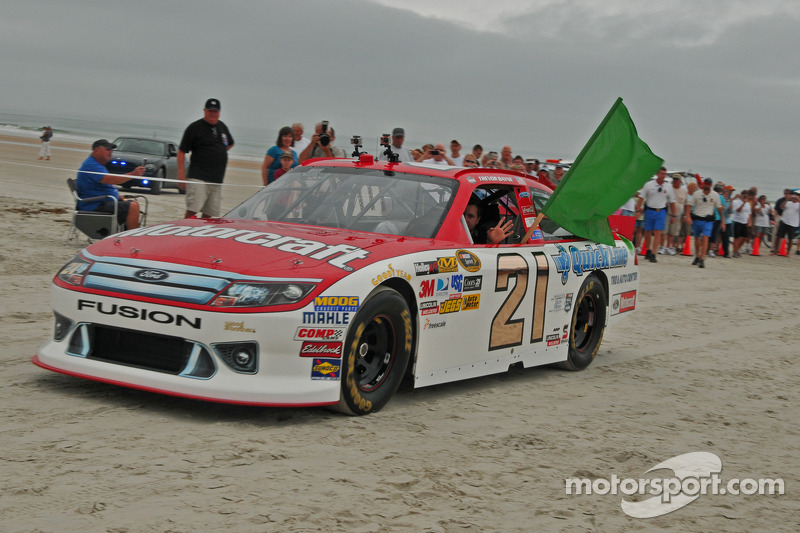 2011 Daytona 500 winner Trevor Bayne drives on the original Daytona Beach